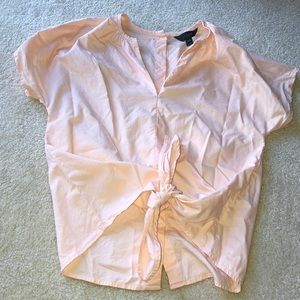 Light pink peach cute blouse with tie in front